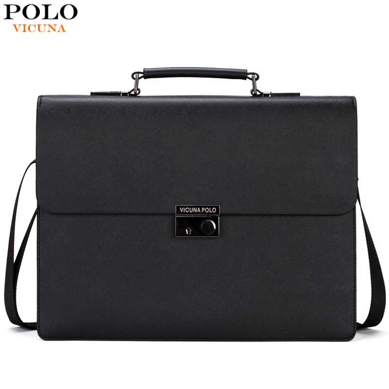 VICUNA POLO Luxury Italy Brand Leather Men Briefcase Bag With Theftproof Lock Business Office Leather Briefcase maletin hombre(China (Mainland))