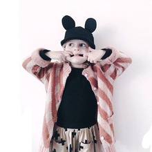 2015 Autumn Bobo Choses Stripe Girl Sweater Worested Long Style Single Breasted O-neck Wool Girl Coat Girl Blouse for 1-5y(China (Mainland))
