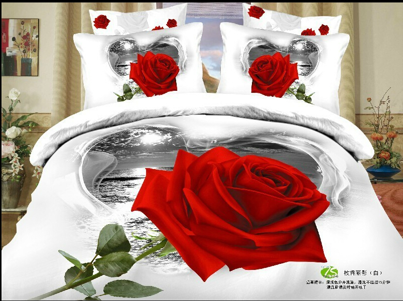 4pcs full queen free shipping 3d red rose flowers green gray white floral modern bedding. Black Bedroom Furniture Sets. Home Design Ideas