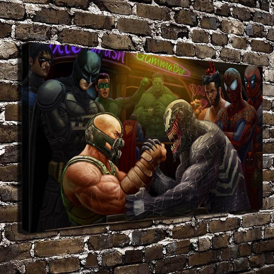A2781 Caricaturas Batman Spider Man Hulk Comics. HD Impresión De La Lona la decoración del Hogar dormitorio Sala de estar Pared de la Obra pintura(China (Mainland))