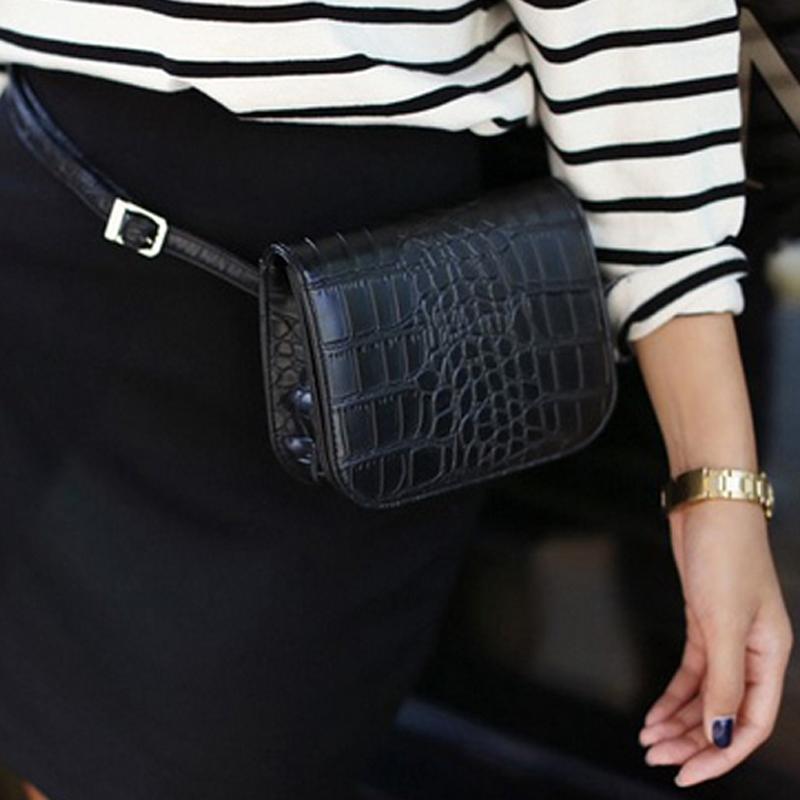 New 2017 Women Alligator Waist Pack Vintage PU Leather Waist Bag Travel Belt Wallets