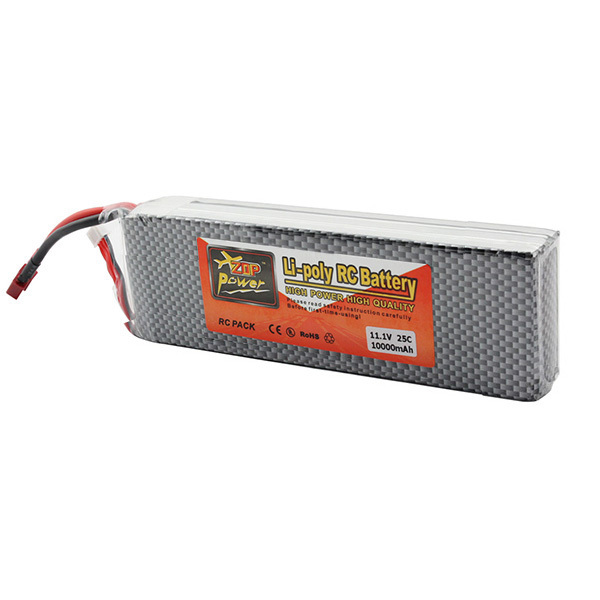 Zop Power Lithium Polymer Lipo Battery 11.1V 10000mAh 3S 25C T Plug For RC Airplane Car Boat Helicopter Parts(China (Mainland))