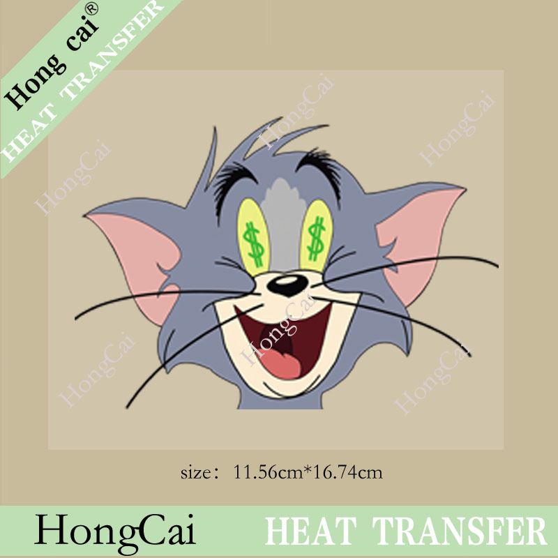 Wholesale high quality Cartoon Love money cat priting Sticker Personalized custom Offset heat transfer printing for T-shit(China (Mainland))