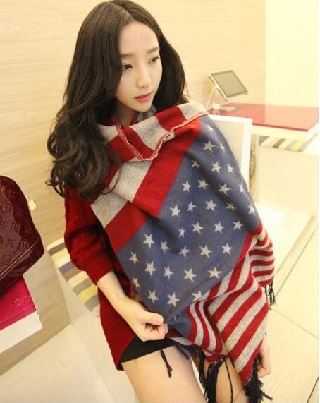 Cashmere Wool American Flag Scarf Women Brand Designer Shawls Scarves Winter Thick Desigual Cotton Caps blanket Plaid - zoe trade co., ltd store