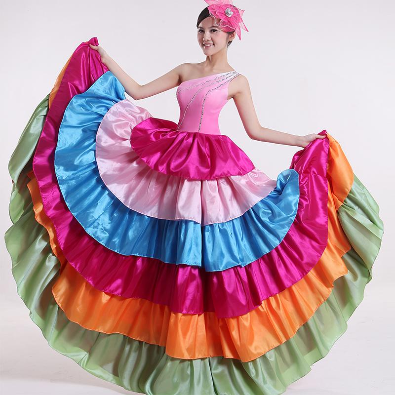 Abertura étnico danza falda swing grande trajes de danza moderna femeninos de baile nuevos ropa de primavera / verano(China (Mainland))