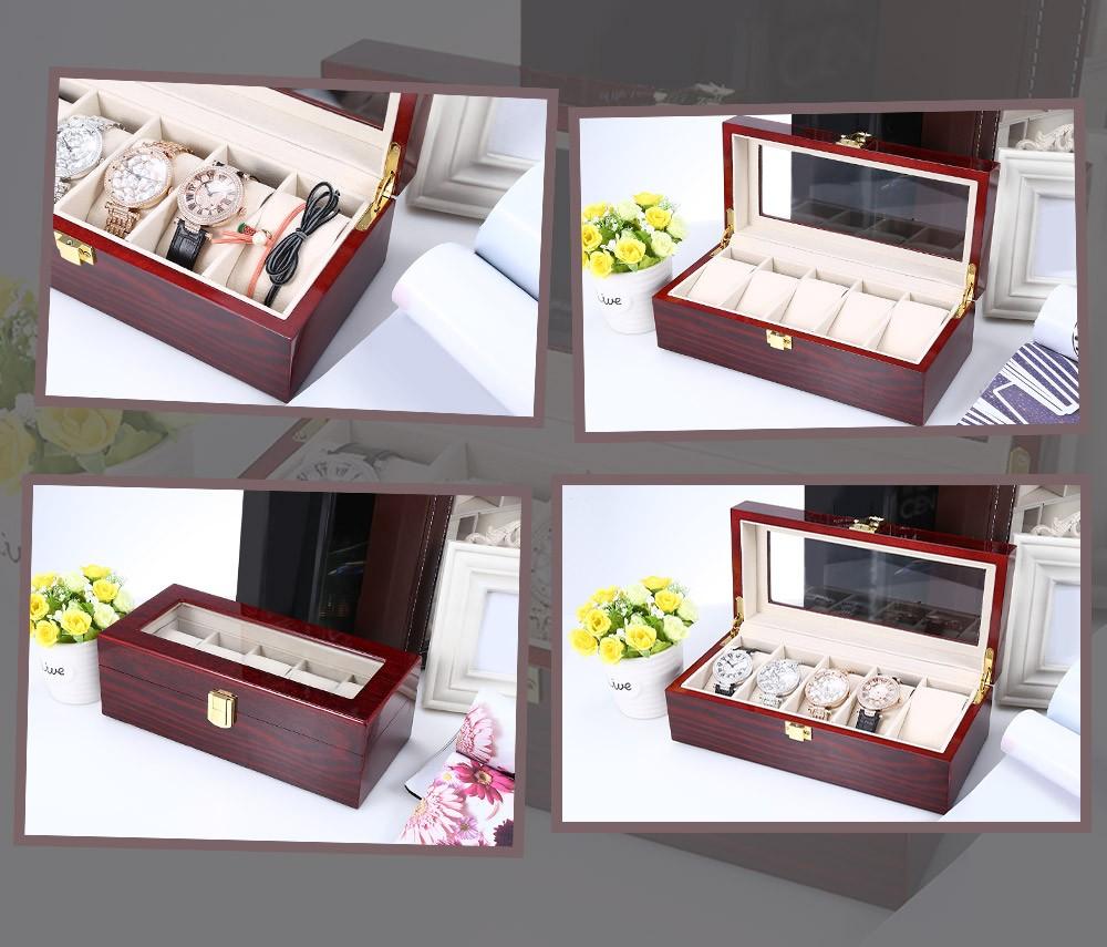 5 Сетки Деревянный Часы Дисплей Окно Фортепиано Лак Для Хранения Ювелирных Изделий Организатор