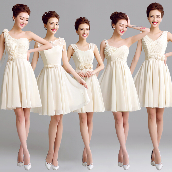 champagne short women one shoulder champange greek goddess bridesmaid dress brides maid dresses 2016 for weddings W2715(China (Mainland))