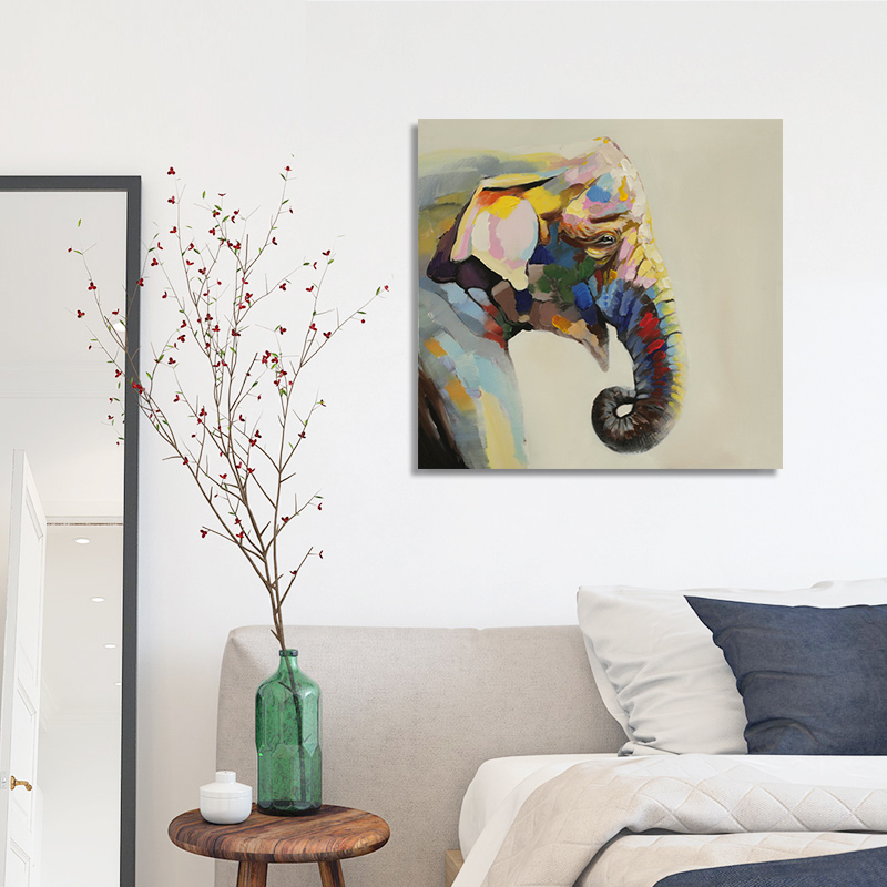 Popular coloured elephant painting buy cheap coloured elephant painting lots from china coloured - Elephant decor for living room ...