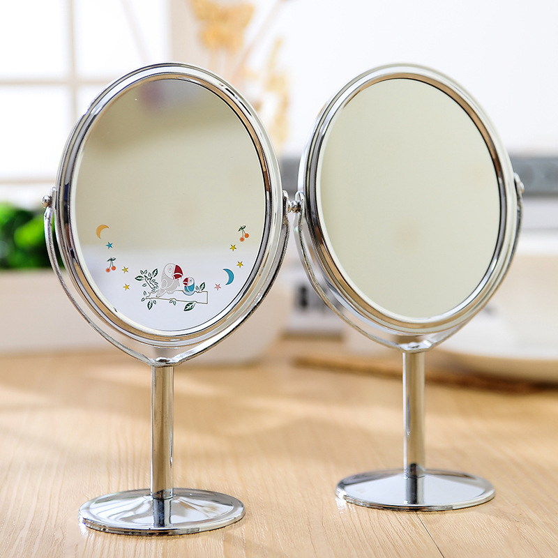 2016 New Fashion Lady Table Mirror Desk Standing Dresser Cosmetic Makeup Mirror Double Sided Magnification 4 Inch(China (Mainland))