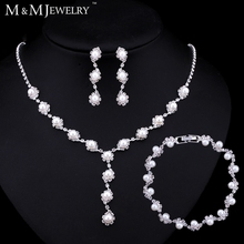 Simple Simulated Pearl Jewelry Silver Plated Wedding Accessories Bridal Round Beads Top Crystal Women Jewelry Sets TL059+SL077(China (Mainland))