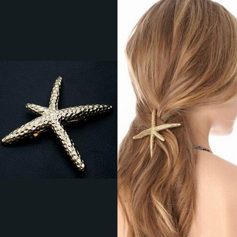 Fashion Chic Metal Gold Silver Plated Women Retro Hair Clip Barrette Girls Hair Jewelry Starfish Hair Accessories(China (Mainland))