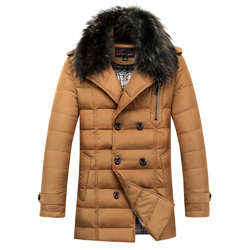 2015 Thick Warm Duck Down Winter Jacket Men Waterproof Fur Collar Winter Parkas Coat Outdoor Down
