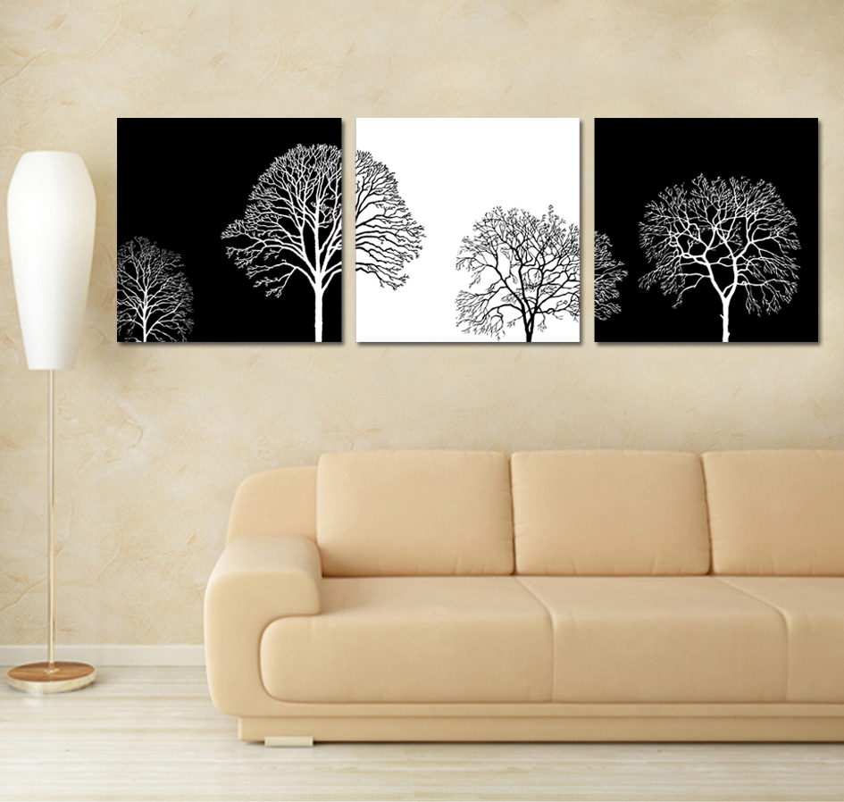 Free shipping 3 piece wall art printed paintings living for White wall decor