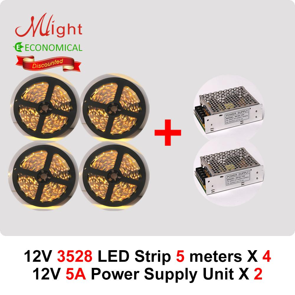 20 meters 12V 3528SMD LED Light Tape & two 60W Power Supply Package Super Deal(China (Mainland))