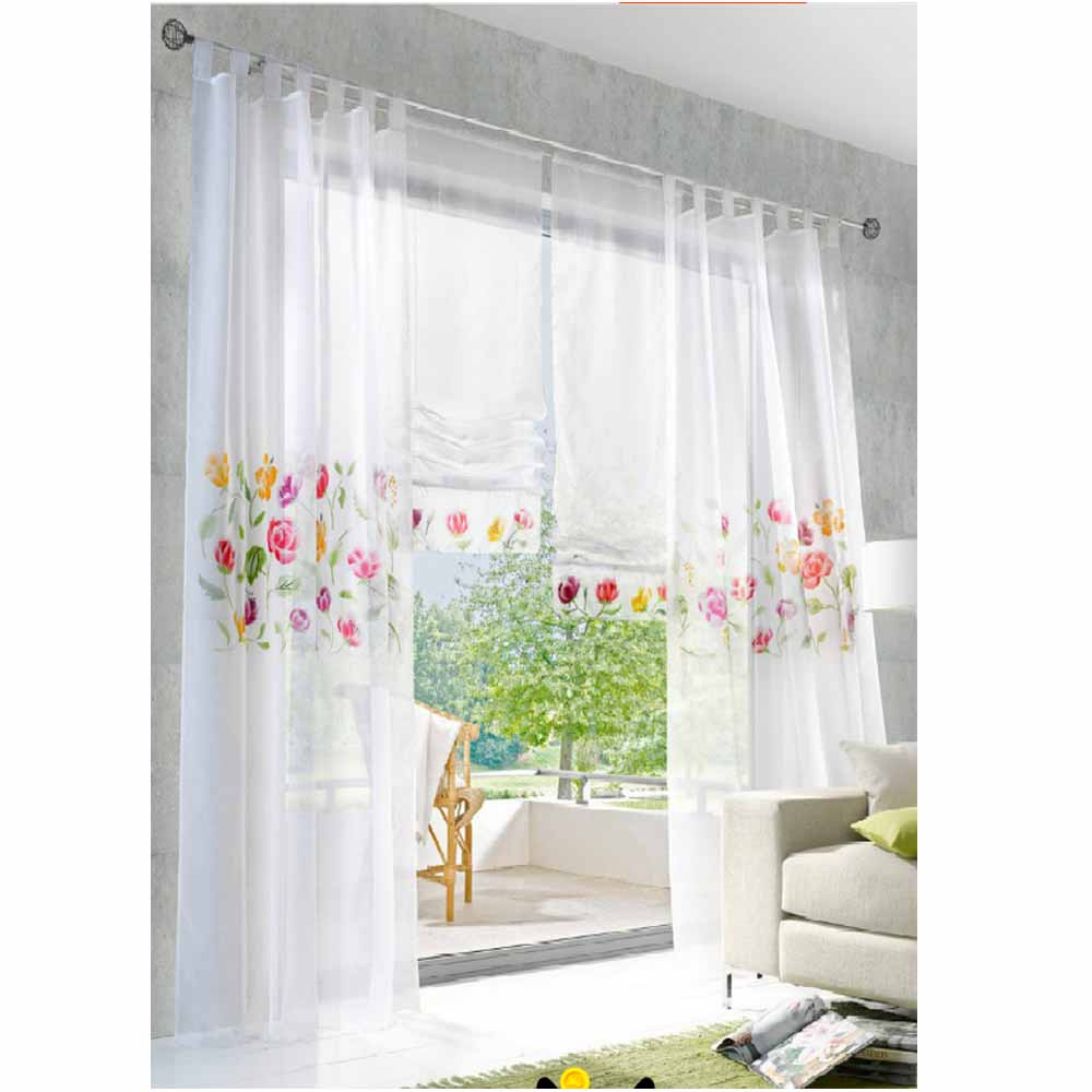 hot sale modern curtains for kitchen embroidered voile