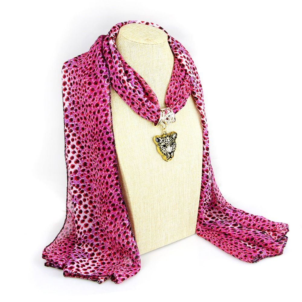 Hot selling leopard Print trendy pink panther pendant long scarf necklace New Design fashion attractive jewelry free shipping(China (Mainland))