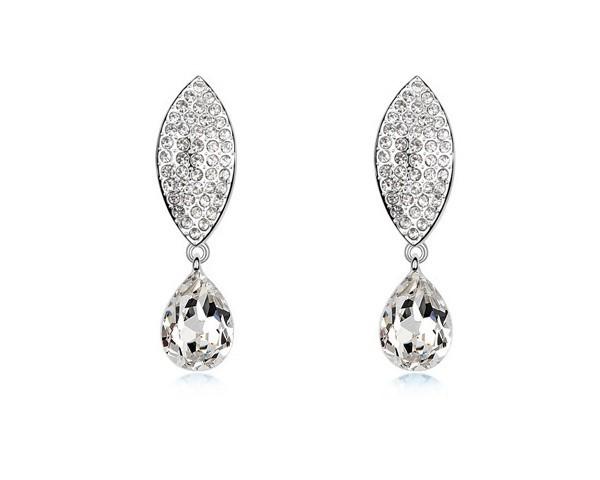 Austria Crystal Made With Swarovski Elements Brand New Stud Earrings Leaf & Teardrop Fashion Jewelry Statement Earrings EEH0039