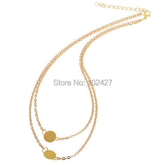 Aliexpress.com Comprar 2014 Collares de Moda para Las Mujeres de Oro Círculo Disco Moneda Colgante Collar de Doble Capa Collar Corto Femenino Cadena de