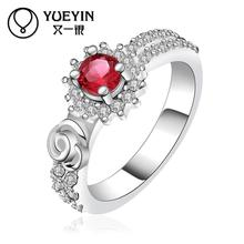 R397 Hot Sale Korean Nigeriran Bead Ruby Jewelry Austrian Crystal Rings For Couples, Bijoux Women Ring Wedding Party Gift