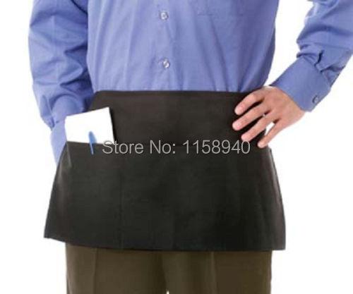 1 pc three pocket delantal cocina Waiter waitress half apron restaurant bar kitchen waist apron black apron(China (Mainland))