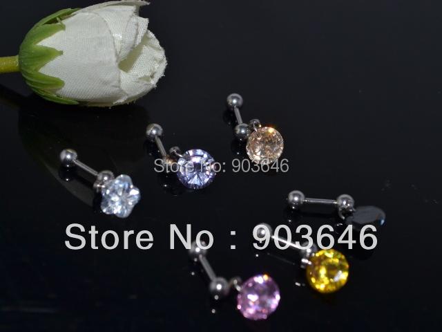 Free Shippment  LOT50pcs Fahion Body Jewelry -Fake Ear Plugs Helix  Ear Bar  Earring/Ear Studs CZ<br><br>Aliexpress