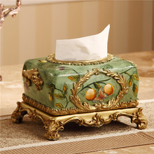 handmade resin creative vintage oil painting tissue boxes(China (Mainland))