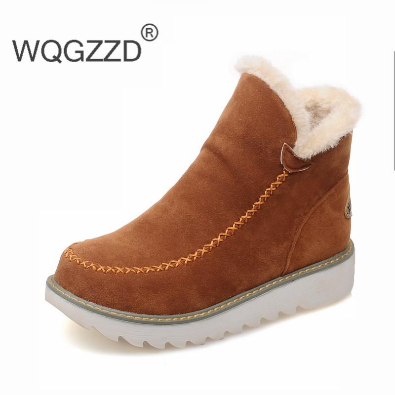 Plus Size 35-43 Fashion Women Platform Boots Round Toe Booties Ankle Snow Boots Slip-On Women Cotton Shoes Bottes Femmes 2017(China (Mainland))