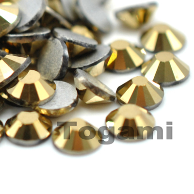 1440pcs/lot ss6(1.9-2.0mm) aurum gold flatback nail art rhinestones diy loose glass glitter glue on crystal stones(China (Mainland))