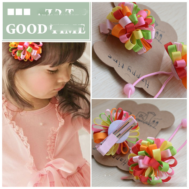 Wholesales(100pcs/Lot) Children Baby Girl's Hair Elastic Band hairpins Hair Ribbons Acessories For Girl New year  Free Shipping