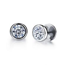 Titanium 316L Stainless steel Earring AAA CZ diamond-jewelry Earrings mens Punk Rock Stud Earrings Best Jewelry gift for friend(China (Mainland))