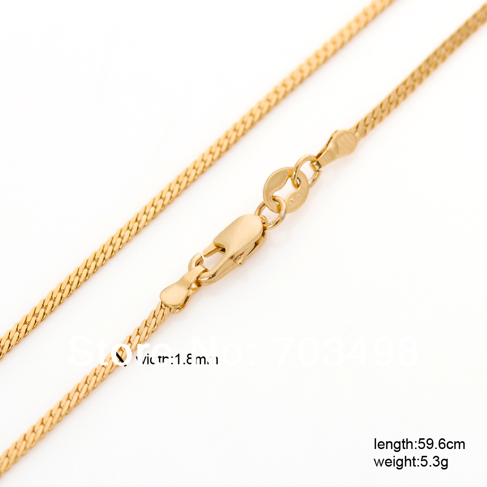 Popular girls long 60cm herringbone / franco gold chain for women 23 inches 1.8mm 18K gold GF filled thin pendant necklace(China (Mainland))