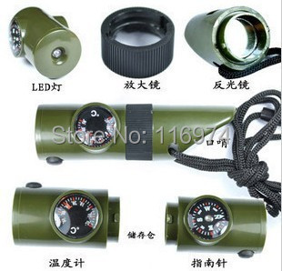7 in 1 Outdoor Survival Whistle Compass Thermometer Flashlight Magnifier Whistle