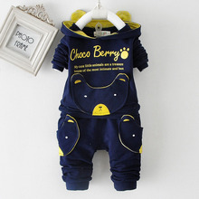 2015 new autumn fashion baby cartoon clothing sets hooded jacket + trousers suit for infant chilren boys girls pullover clothes(China (Mainland))