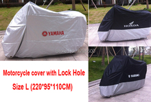 Motorcycle Cover Dustproof Waterproof UV Resistant Motor Covers Moped Dust Prevention Cover With Lock Hole Size L 220*95*110CM(China (Mainland))