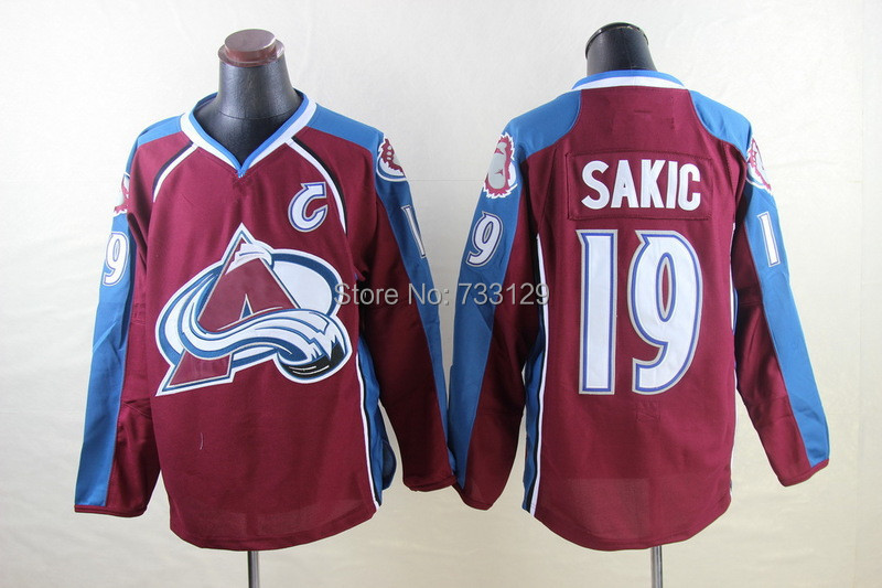 Cheap New Arrival Colorado Avalanche Jerseys #19 Joe Sakic Ice Hockey Jersey(China (Mainland))