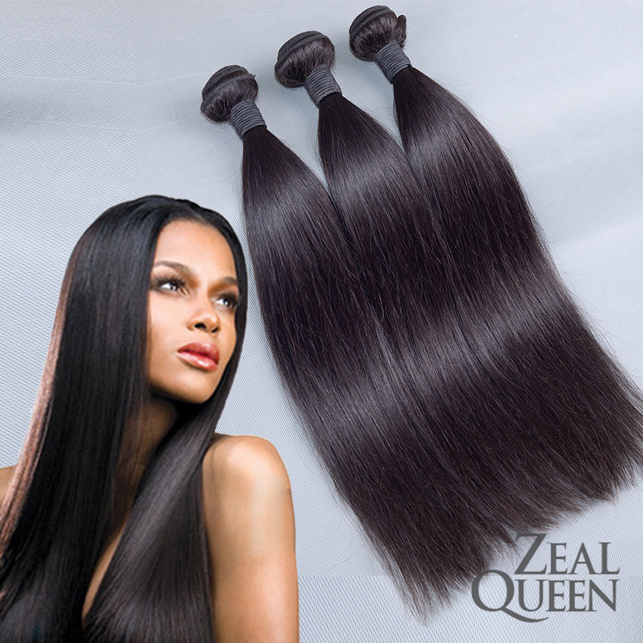 "Grace Hair 6A Virgin Indian Hair Straight  5PcLot Indian Remy Hair Weave 8-28""inch Natural Black Color Zeal Queen Hair Products (China (Mainland))"