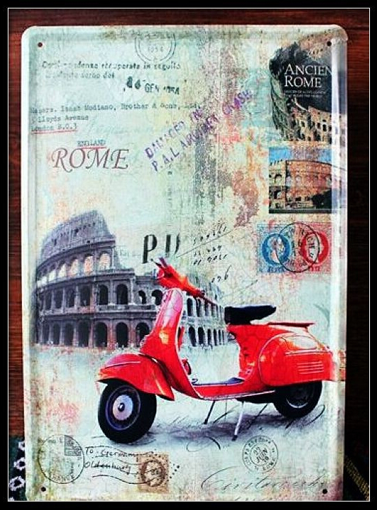 Classic Red motorcycle painting Vintage metal signs poster decorative wall sticker mural 20*30CM Metal Tin Sign(China (Mainland))