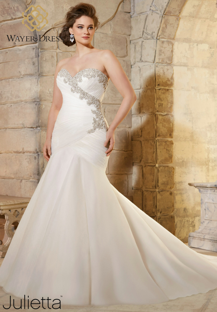 Designer plus size wedding dresses mermaid style for Beading for wedding dress
