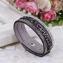 2016 New Fashion  Wrap Bracelets Slake Leather Bracelets With Crystals Couple Jewelry(China (Mainland))