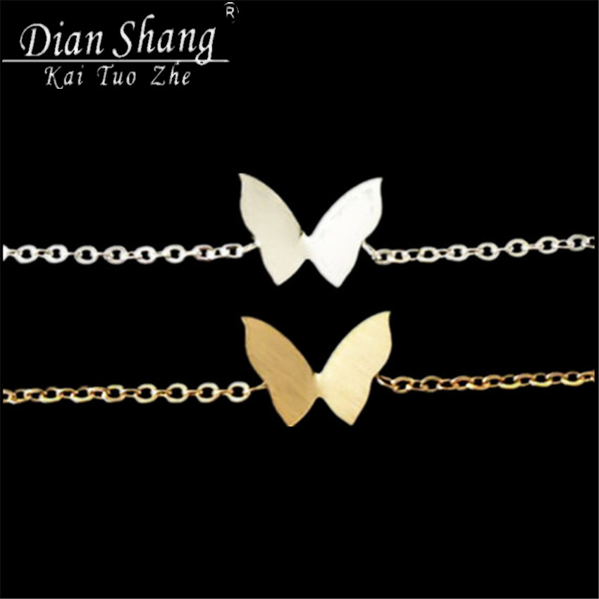 DIANSHANGKAITUOZHE 1 Cute Butterfly Cuff Bracelet & Bangle Women Fine Jewelry Silver Gold Stainless Steel B015S - Show store