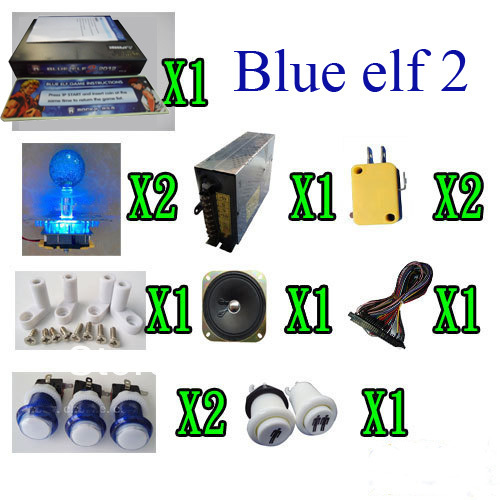 1set Arcade parts Bundles With blue elf 2012 multi game board, lighted button, lighted joystick, power supply, speaker(China (Mainland))
