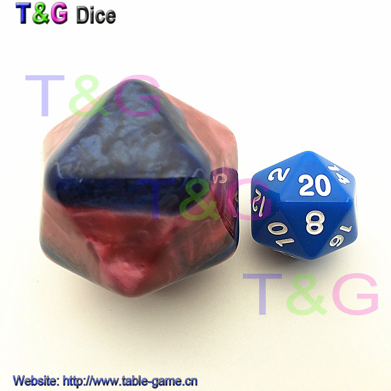 New Mix Color Deep Red and Blue 20 Sided Dice with Marbled effect for Entertainment Toys 35mm Blank Dice(China (Mainland))
