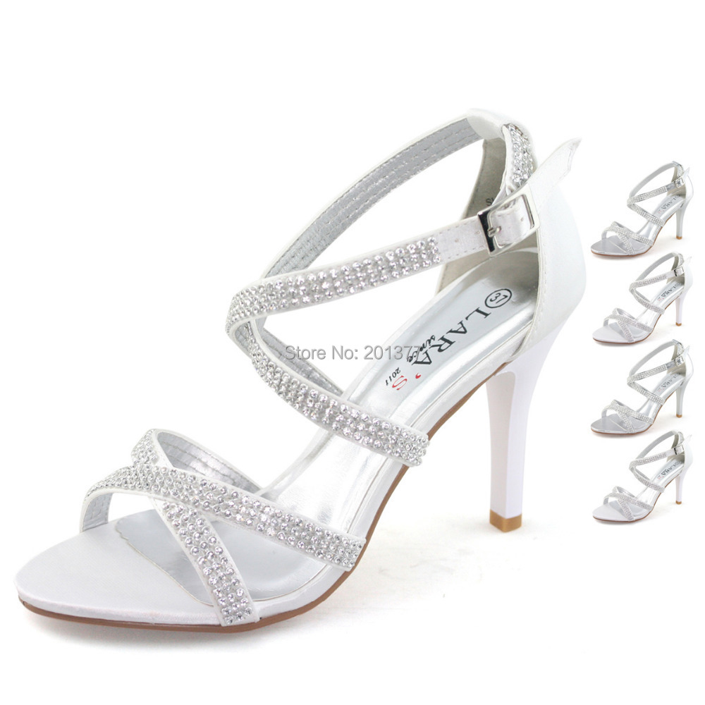 LARAs Brand Silver White Wedding Shoes For Women Ladies Diamond Diamante Stilettos High Heel