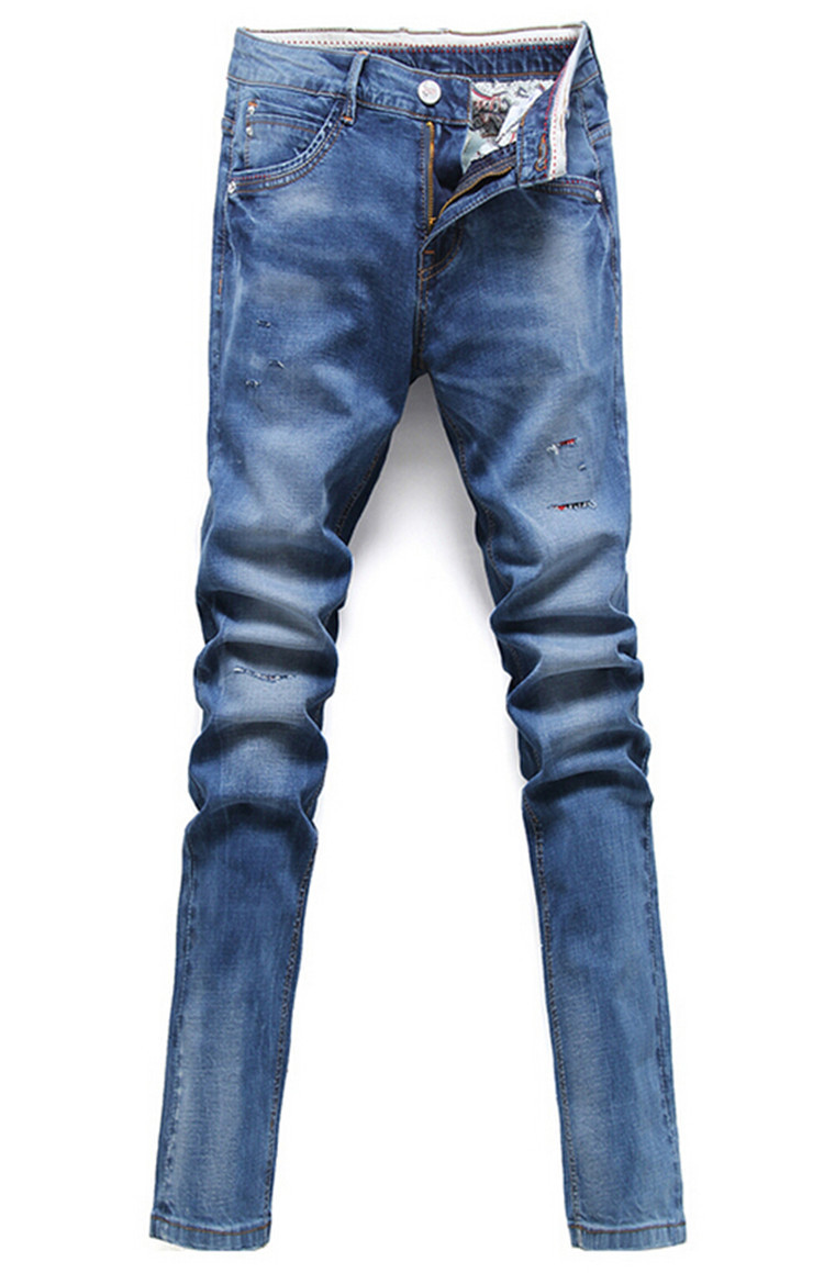 Free Shipping 2015 New Skinny Jeans Men Casual Slim Fit Stretch Jeans Men Small Trousers Pant For Men,Brand Blue Jeans(China (Mainland))