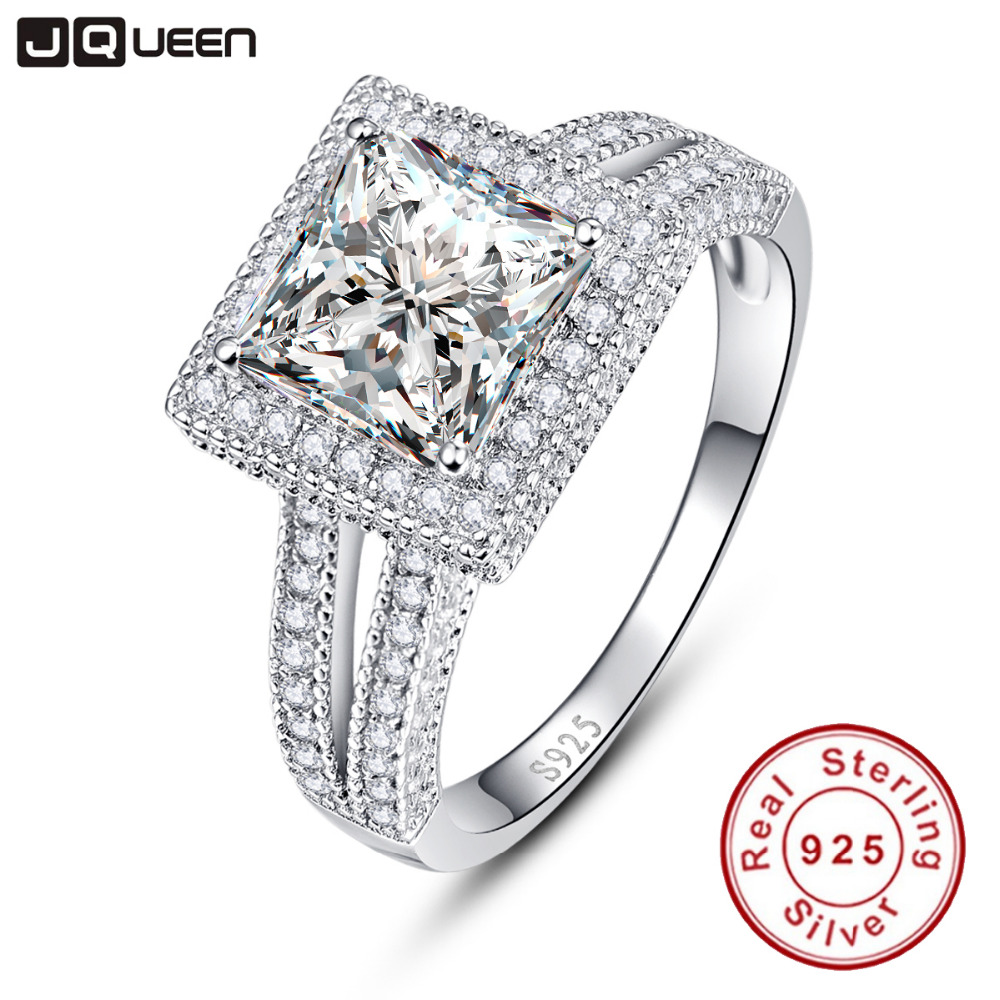 2016 New Collection 925 Sterling Silver 2.25ct Princess Brilliant Stackable Ring Clear White CZ Ring Fine Jewelry Anillos(China (Mainland))