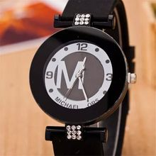 Letter 'M' watch fashion watches men watch women birthday gift simple Wristwatches rhinestone black white