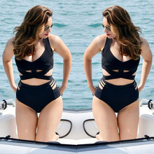 New Women's Swimsuit Plus Size Sexy Push Up Black Bandage Bikini Swimwear,Retro High Waist Cut Out Larger Size Bathing Suits(China (Mainland))