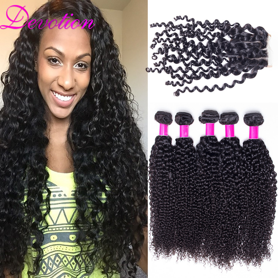 Brazilian Virgin Hair With Closure 4 Bundles With Closure Gaga Hair Brazilian Kinky Curly Hair Weave Bundles With Lace Closure<br><br>Aliexpress