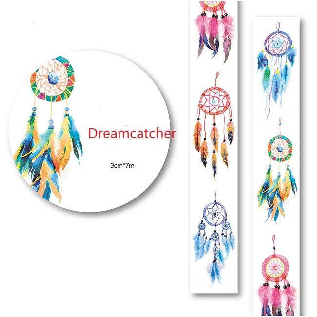 Dreamcatcher 3CMX7M Washi Paper Tape Masking Tape Stickers Decorative Sticker Adhesive Tape XQT015 Wholesale Is Available(China (Mainland))
