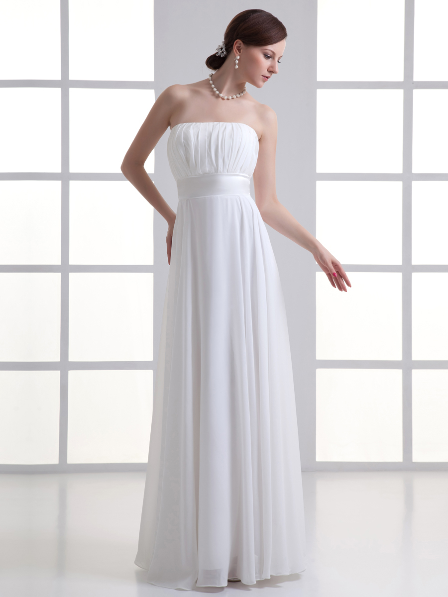Cheap simple white chiffon wedding dress floor length for Cheap beach wedding dress